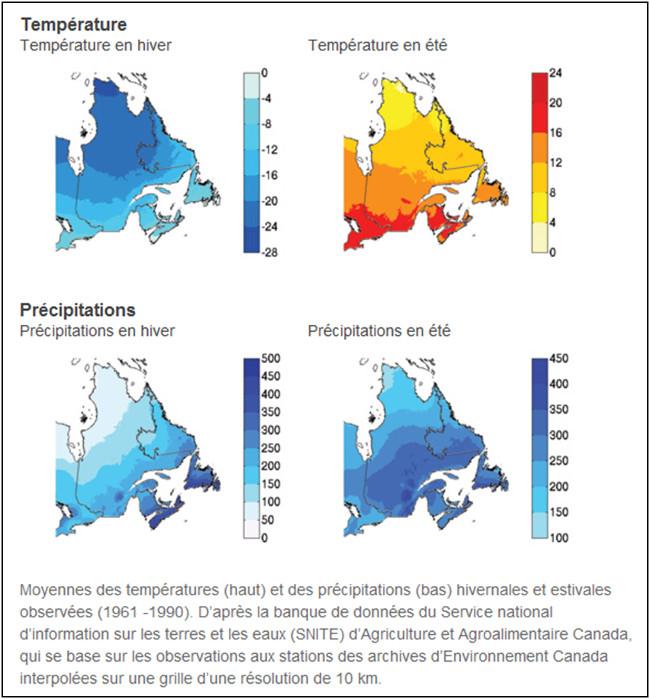 Températures et précipitations projetées au Québec en 2050